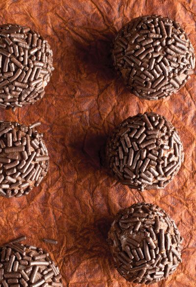 You can find many versions of brigadieros, but chocolate is the traditional flavor for these dense, chewy fudge balls rolled in sprinkles, a treasured treat in Brazil. See the recipe »