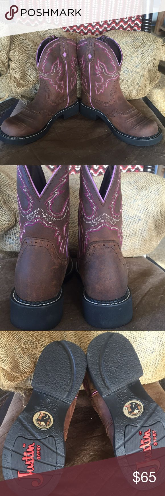 Justin gypsy boots Adorable brown, purple, and pink Justin boots!! Size 71/2 B. Worn once, like brand spankin new!! Justin Boots Shoes Ankle Boots & Booties