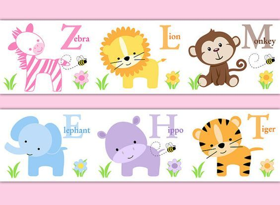 SAFARI ANIMAL BORDER Girl Nursery Alphabet Decal Wall Art Stickers Room Decor Baby Shower Decorations Kids Childrens Jungle Zoo Abc Letter #decampstudios