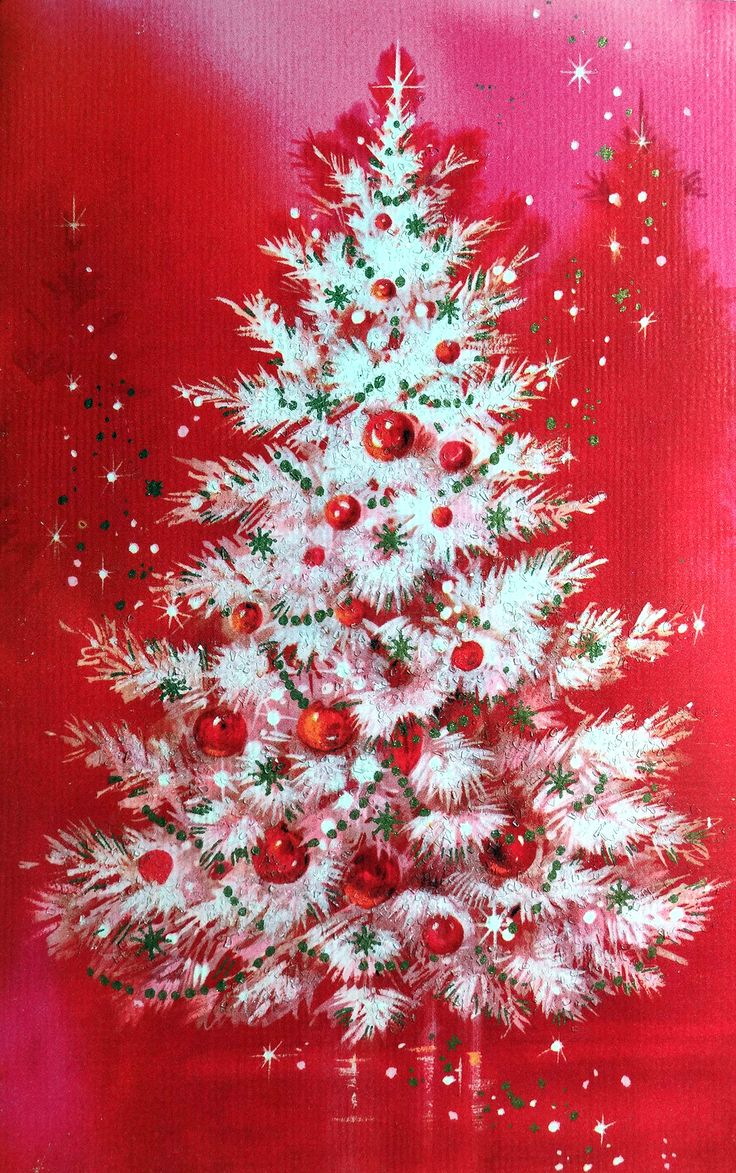 Black and white christmas tree clip art pictures to pin on pinterest - Vintage Red Christmas Card With A White Tree