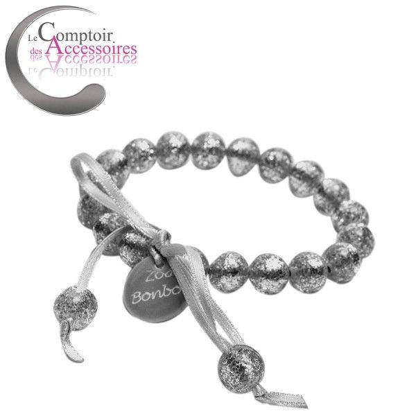 Bracelet en résine, couleur argent Zoé Bonbon