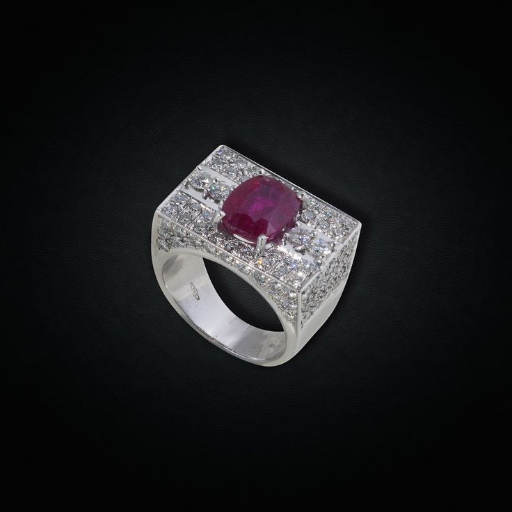 18K White Gold Ruby Statement Ring with Diamonds