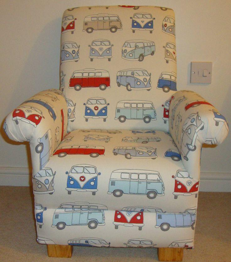 Fryetts Campervan Fabric Childs Chair Nursery VW Retro Blue Red Cream Bedroom