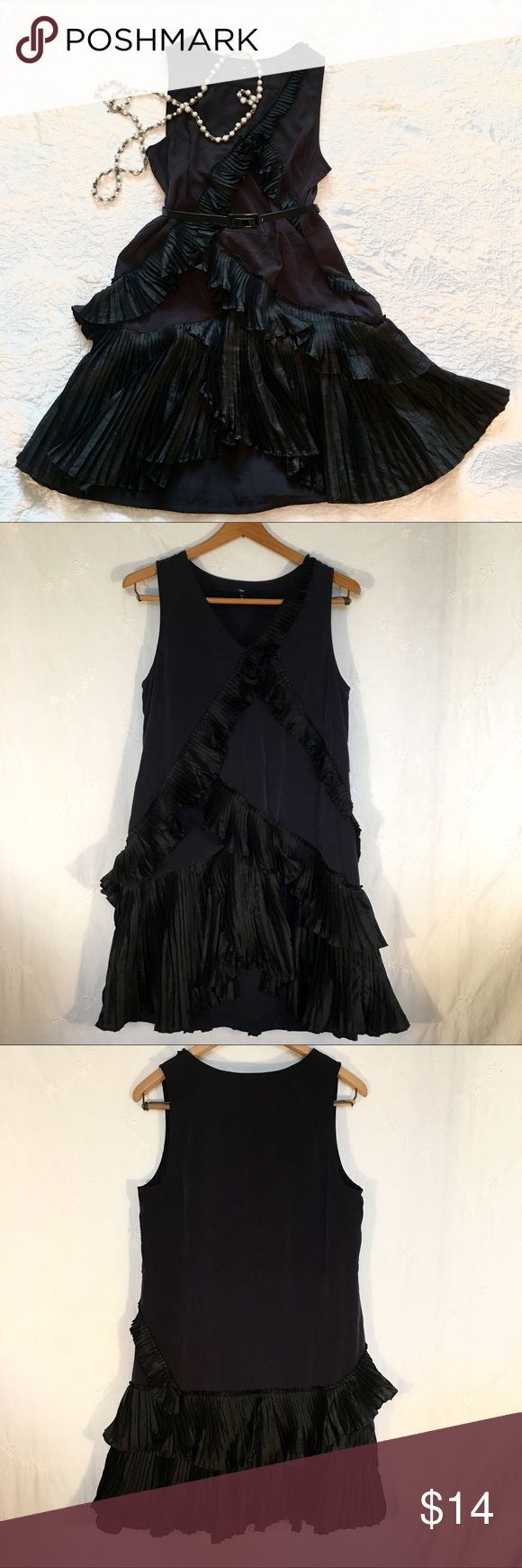 GAP Black Ruffle Polaris Dress sz 8 GAP Black Ruffle Polaris Dress  Size 8 Gently used statement dress 100% polyester  Machine wash & dry Original fabric tie belt is missing (this listing does NOT come with a belt) GAP Dresses