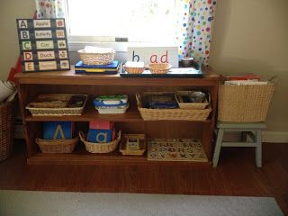 Literacy Shelves for pre-K/K to entice curiosity and self directed language exploration.