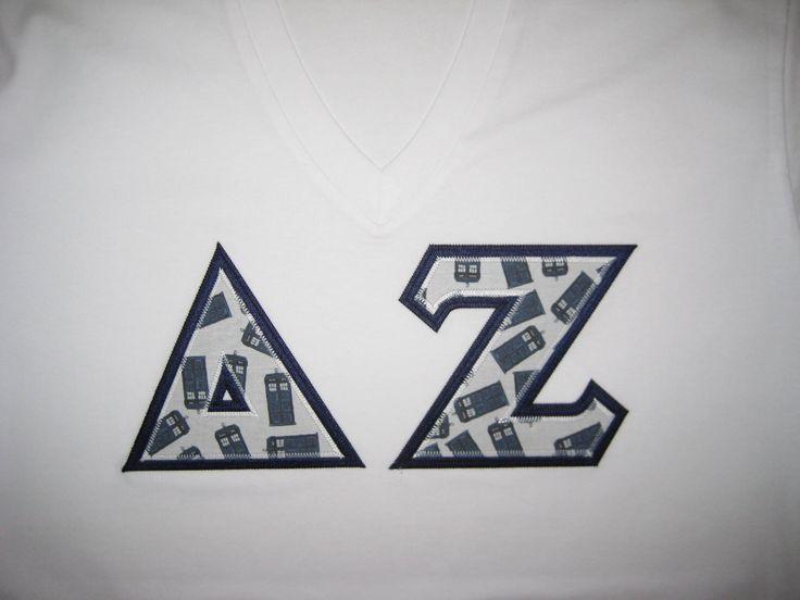 Delta Zeta #custom #fabric #greek #letter #shirt #Tardis