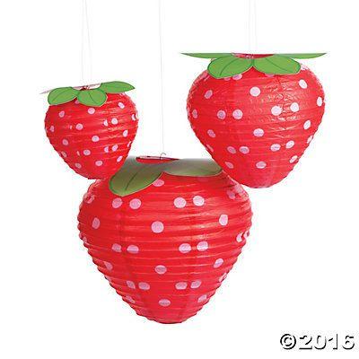 6/ Sweet Strawberry Birthday Party Lanterns  /Strawberry Shortcake Party