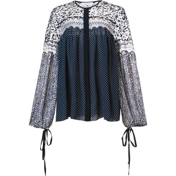 Chloe Polka Dot Smock Blouse ($1,850) ❤ liked on Polyvore featuring tops, blouses, kirna zabete, blue polka dot blouse, tie top, smock top, polka dot top and chloe blouse