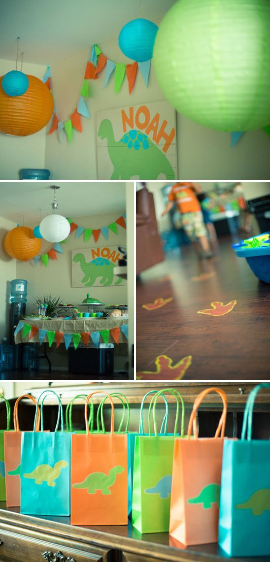 Dinosaur themed birthday party... Love the goodie bags for presents