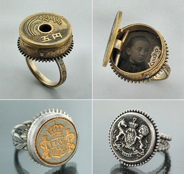Vintage Button rings.