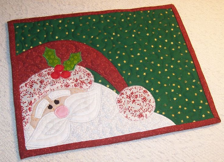 Quilted Santa Applique Mug Rug