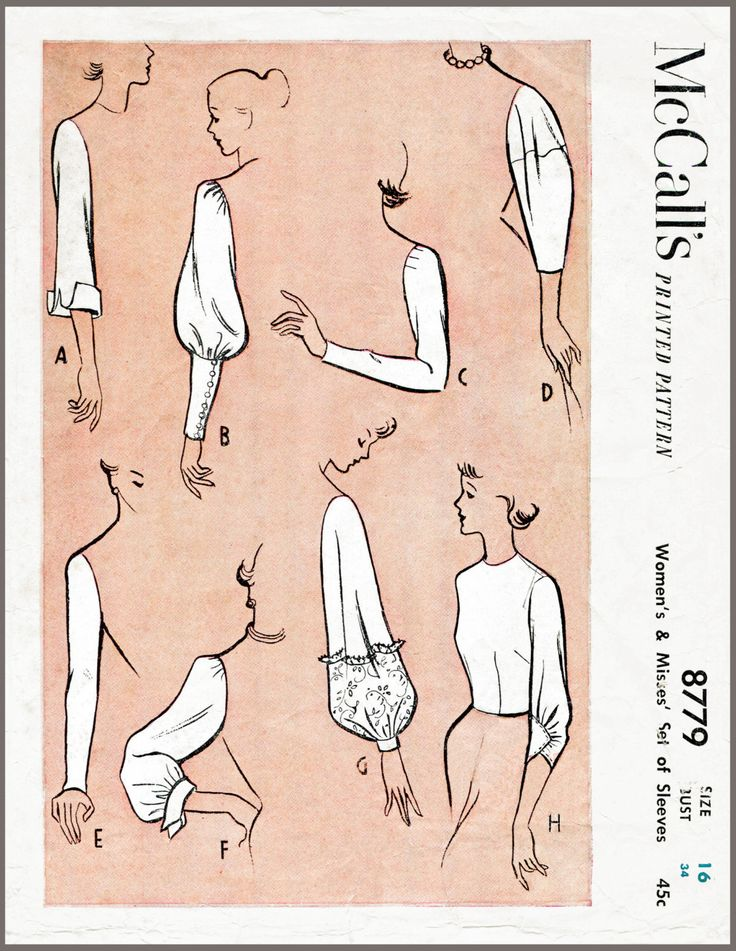 Vintage Sewing Pattern 1950s 50s sleeve set 8 styles
