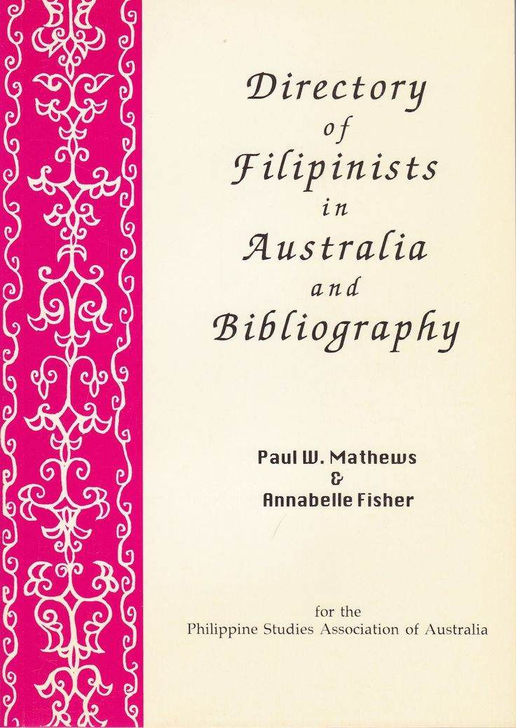 This publication lists the names, qualifications and interests of Filipinists in Australia and former residents who have made significant contributions to Philippine studies in Australia, Dissertations on the Philippines undertaken at Australian and other Universities, and an extensive bibliography of both published and unpublished material on the Philippines by those listed above.  $1.99  https://www.smashwords.com/books/view/621655