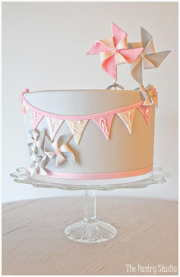 Pinwheels,Baby Pink & Soft Gray. Happy 1st Birthday Avery! Cake Design: The Pastry Studio