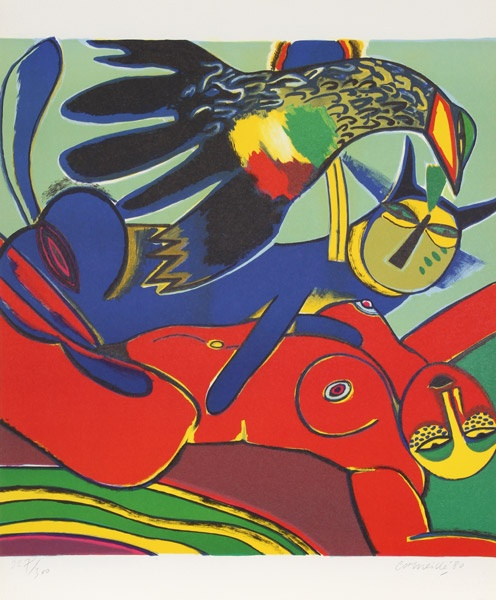 Artist: Corneille, Belgian (1922 - 2010)  Title: Elle se Donne a L'ete (She Gives Herself to Summer)  Year: 1980  Medium: Lithograph, signed and numbered in pencil