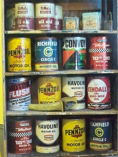 Vintage Motor Oil Can Collection by kodakcameragirl