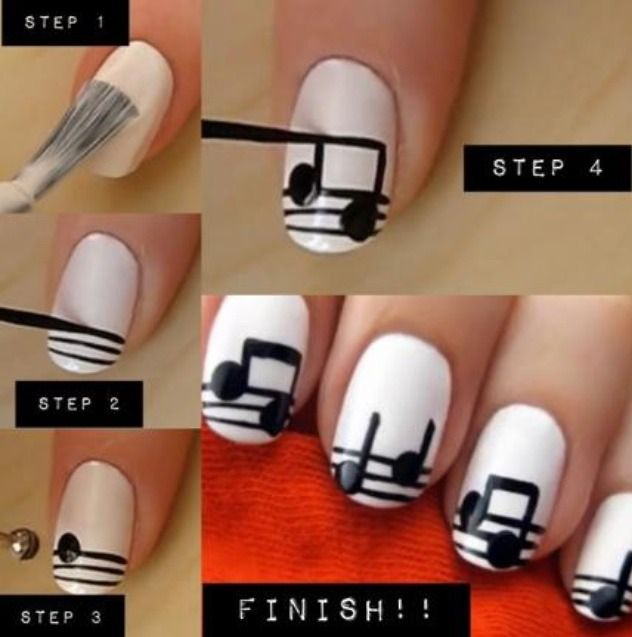Music notes nail art!! How cute is this!!!!! im sooooo the musical type so this is fun for me lol