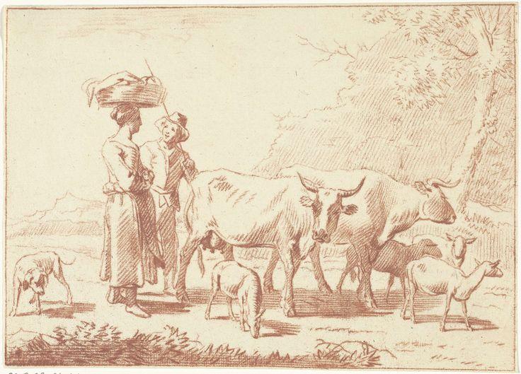 Cornelis van Noorde | Herder en een vrouw met koeien en schapen, Cornelis van Noorde, Nicolaes Pietersz. Berchem, 1768 | Een herder met een staf en een vrouw met een mand op haar hoofd staan achter twee koeien en vier schapen. Links van hen staat een hond.