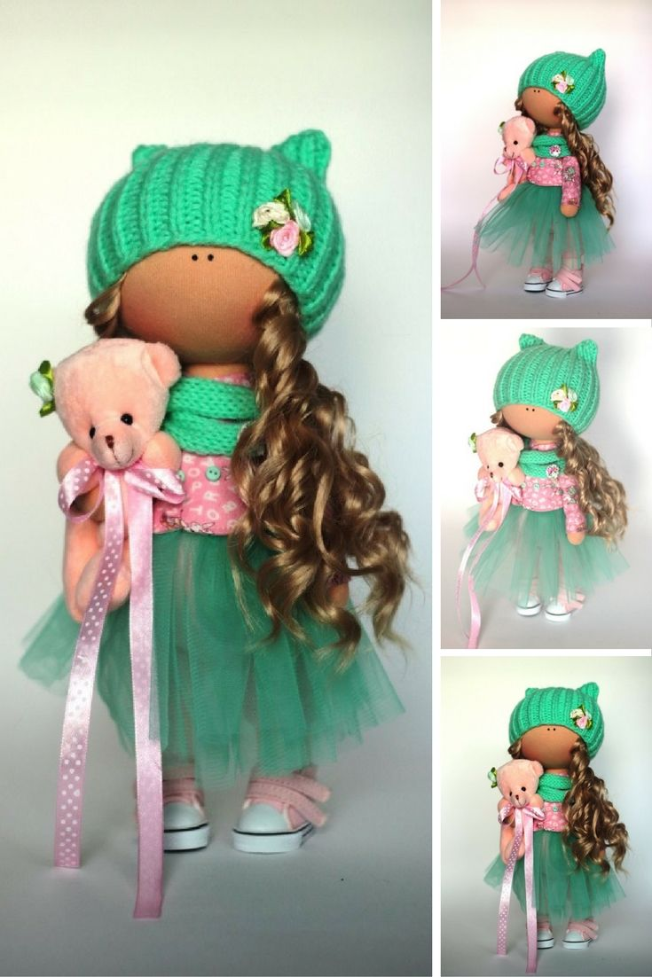 Rag doll Fabric doll Summer doll handmade green color Soft doll Cloth doll Baby doll Tilda doll Interior doll by Master Yulia Grigorieva