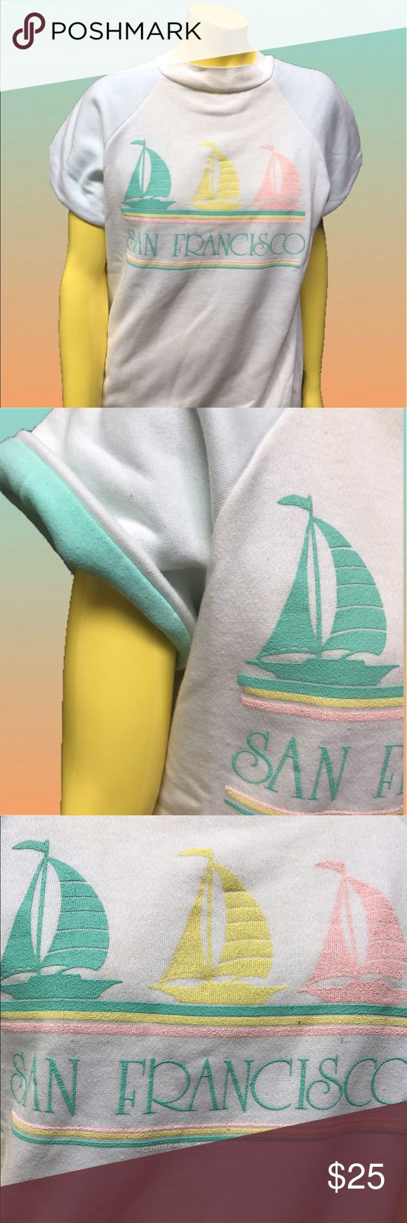 •🍡⚓️ Vtg 90s Pastel San Francisco Ship Tee ⚓️🌅 • Whatta dreamboat 💘🍬Sail away to la la land in this cuddly Cali tourist tee! 🌴🌥✨ Clean as can be ✔️✨ . • M • 50% Polyester . 50% Cotton • Made in U.S.A. 🇺🇸 •  . • Measurements upon request 💬📏✔️✨• . . . • * • . • ✶ • . • * • .  #vintage #vtg #retro #1990 #1990s #90 #90s #pastel #aesthetic #pink #yellow #teal #dream #boat #sail #ship #nautical #ocean #fairykei #kawaii #puffy #paint #plush #soft #mom #granny #cali #sanfrancisco #tourist…