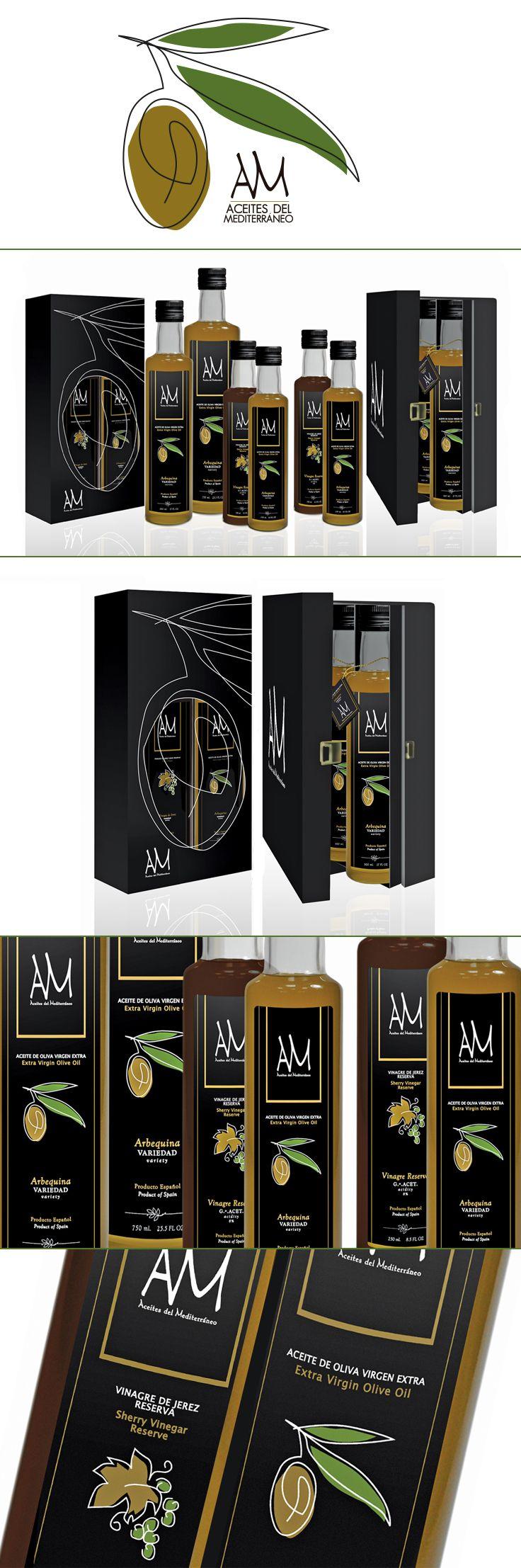 Diseño para las botellas y packaging de Aceites del Mediterráneo - Designed by LeBranders. handsome #oliveoil #packaging PD