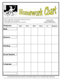 printable homework calendar