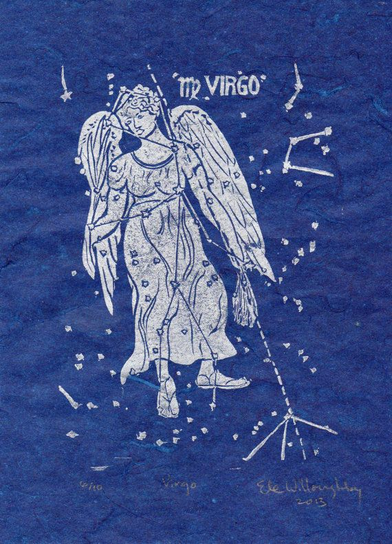 Virgo Constellation Linocut by minouette on Etsy   24 00Virgo Constellation