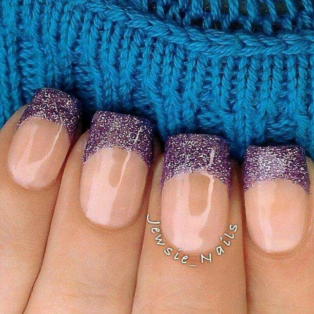 Purple sparkle French nails