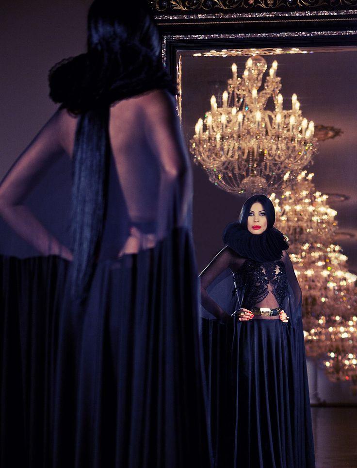 Ingrid Vlasov,mirror,lace dress,chandelier