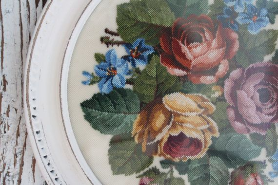 ❀ A beautiful petit point rose needlework. This piece would have taken hours! It is perfectly done with care and precision. Looks like there are