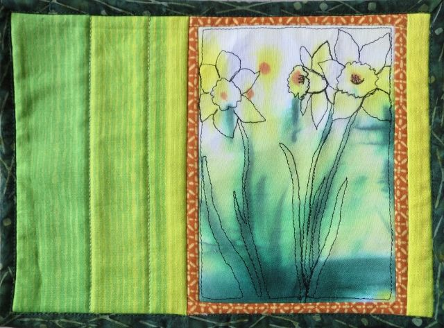 Part of a challenge with other quilters to do something unique with hand painted fabric.