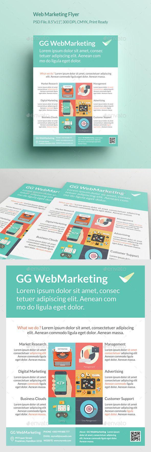 Web Marketing Flyer  Marketing Flyers Flyer Template And Font Logo