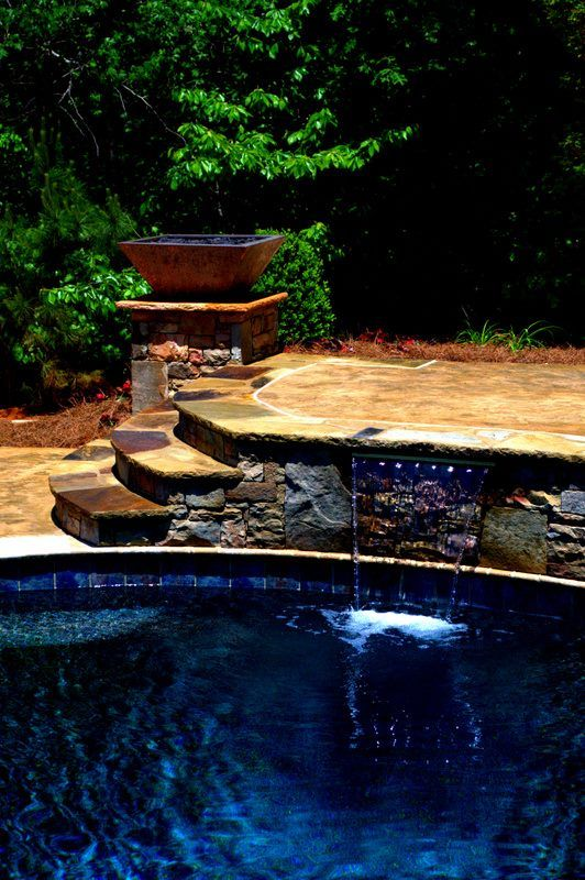 145 best images about backyard vacations by brown 39 s pools for Fire features for swimming pools