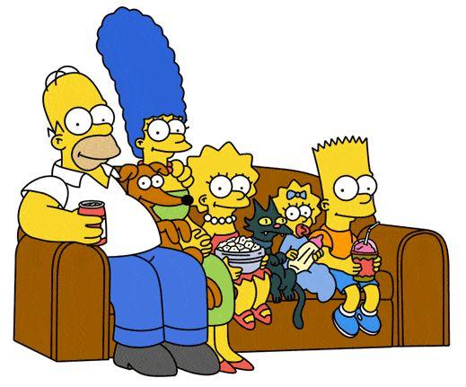 la familia simpson en el sofa