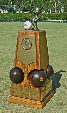 Walt Disney was an avid bowler and after he died the Beverly Hills Lawn Bowling Club started the Disney Masters Tournament and it continues today in its 4th decade. The trophy designed by the Disney Company is 4 feet high and is imbed with Walt's personal lawn bowls.