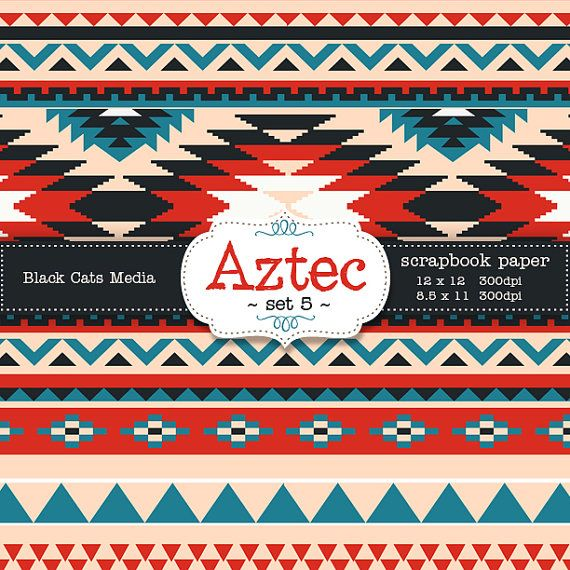 Aztec tribal ethnic digital Printable Papers 12 x 12 in AND