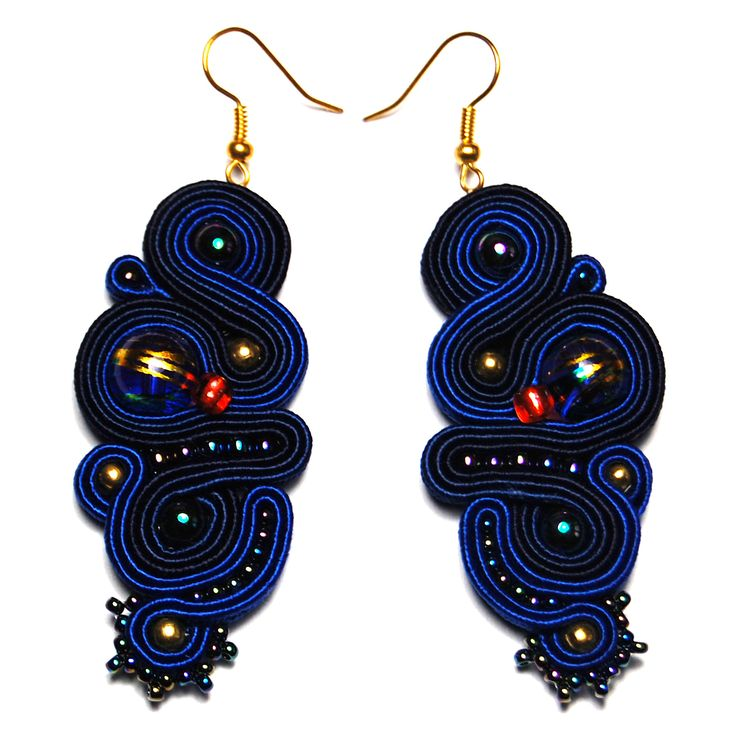 Soutache earrings blue navy dark jewelry handmade shop gift to buy for sale unique orecchini pendientes oorbellen Ohrringe brincos örhängen by ForQueen on Etsy