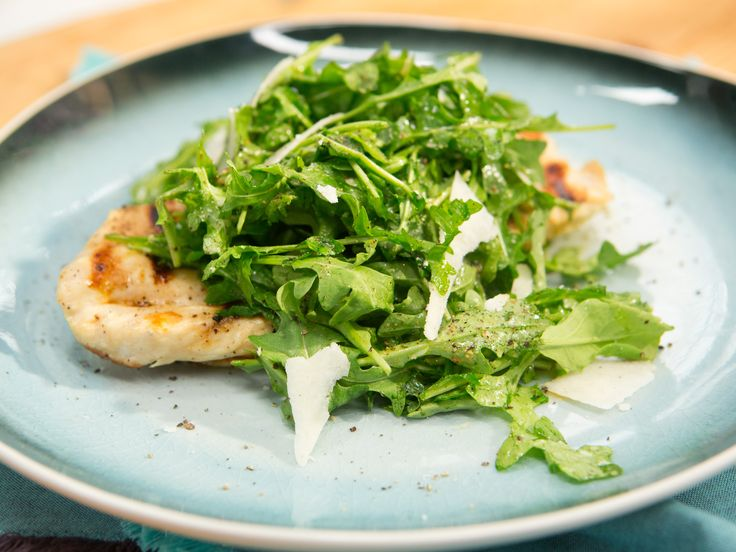 Grilled Chicken Paillard with Arugula and Shaved Pecorino recipe from Katie Lee via Food Network