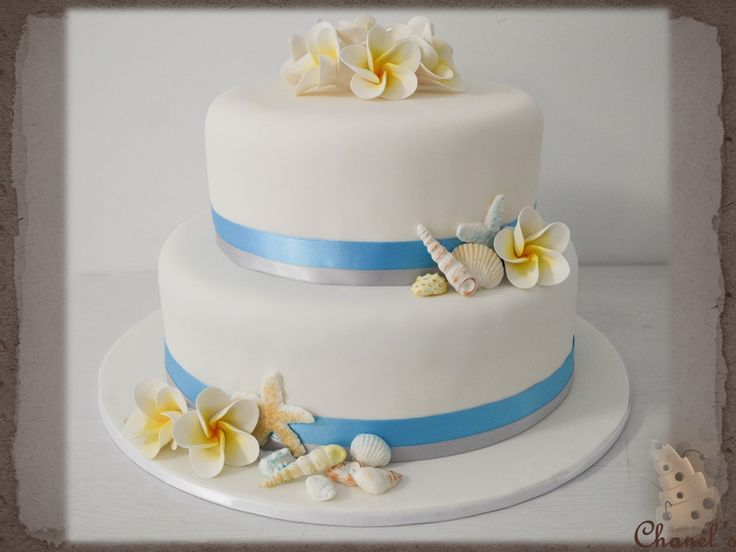 Sea Shell Frangipani Flowers Wedding Cake Beach Theme