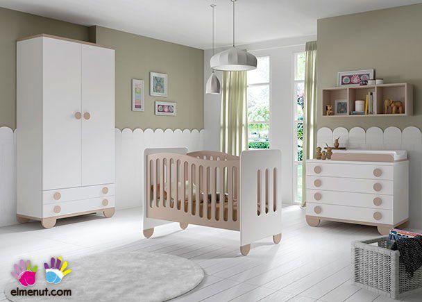 Dormitorio Infantil con Cuna y Patas redondas
