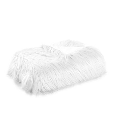 Flokati Faux Fur Throw Blanket In White Faux Fur Throw