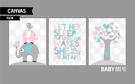 Modern Tiffany Blue, Light Pink and grey Baby Girl nursery canvas art prints, Set of 3 11x14. ($40 for one)
