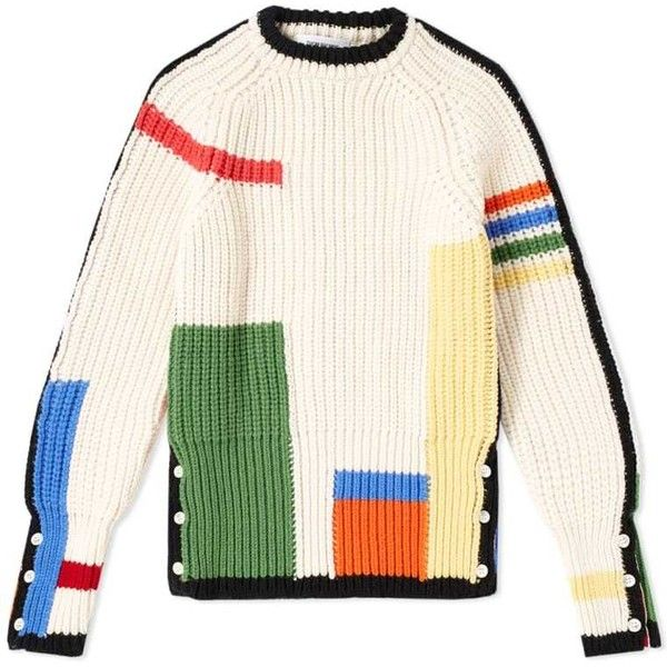 Thom Browne 4 Bar Stripe Rib Merino Crew Knit ($250) ❤ liked on Polyvore featuring tops, sweaters, pink crew neck sweater, merino wool crewneck sweater, crew neck sweater, ribbed sweater and knit sweater