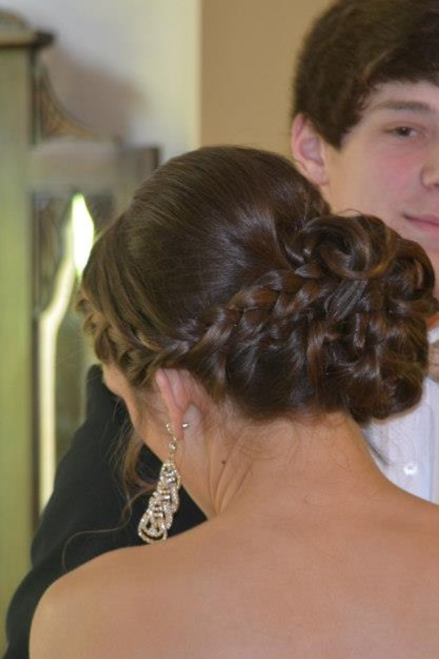 Prom hair updo with braid