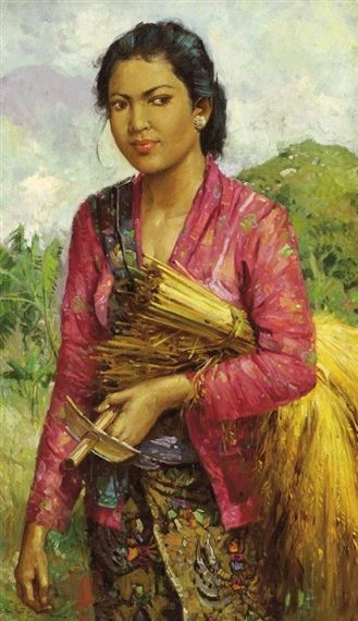 Hasim, Portrait of a woman with ears of corn under her arm