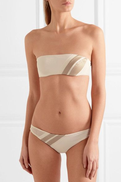 La Perla - Diagonal Touch Metallic-trimmed Jersey Bandeau Bikini Top - Ivory - IT 4