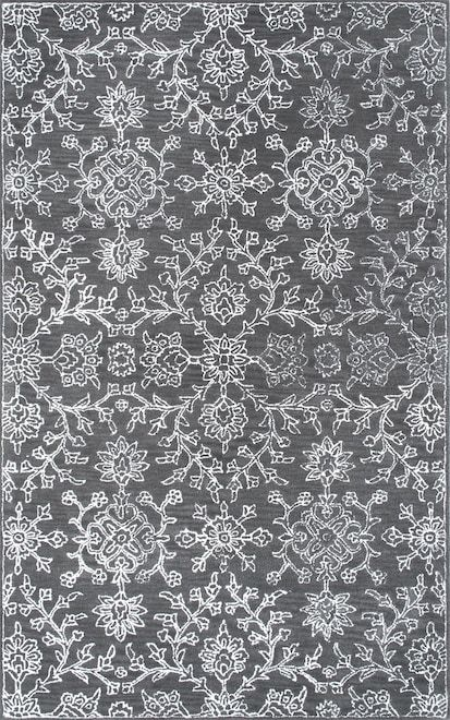 Rugs USA Charcoal Allentown MA03 Hand Tufted Wool Floral Ogee Damask Rug