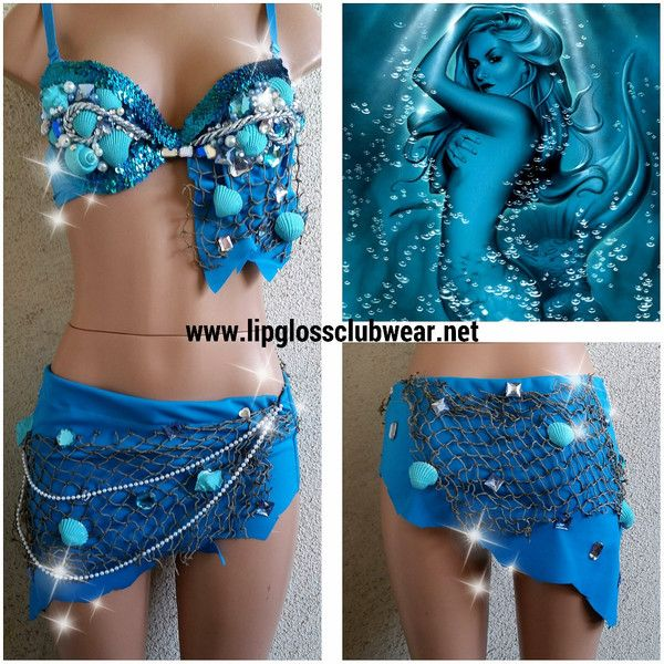 Sea Mermaid Inspire Rave Top & Bottom, Rave Costume Outfit For EDC,... ($135) ❤ liked on Polyvore featuring costumes, sexy mermaid costume, blue costume, mermaid costume, sexy mermaid halloween costume and sequin costume