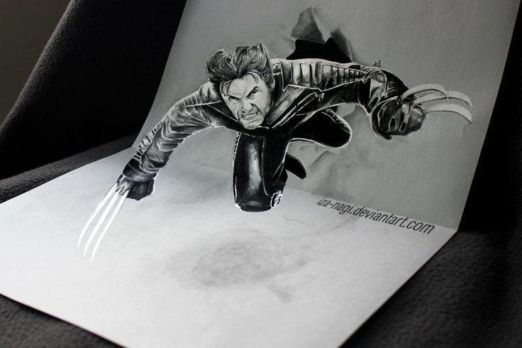 Wolverine..Not only is this a realistic representation of the X-Men superhero Wolverine, but the artist has managed to make it appear that the character is a 3D model jumping out of the paper.
