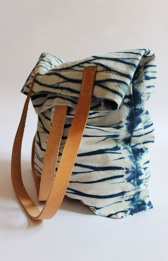 Water Surface Shibori Hand Dyed Cotton Tote Bag Shoulder by Rejell